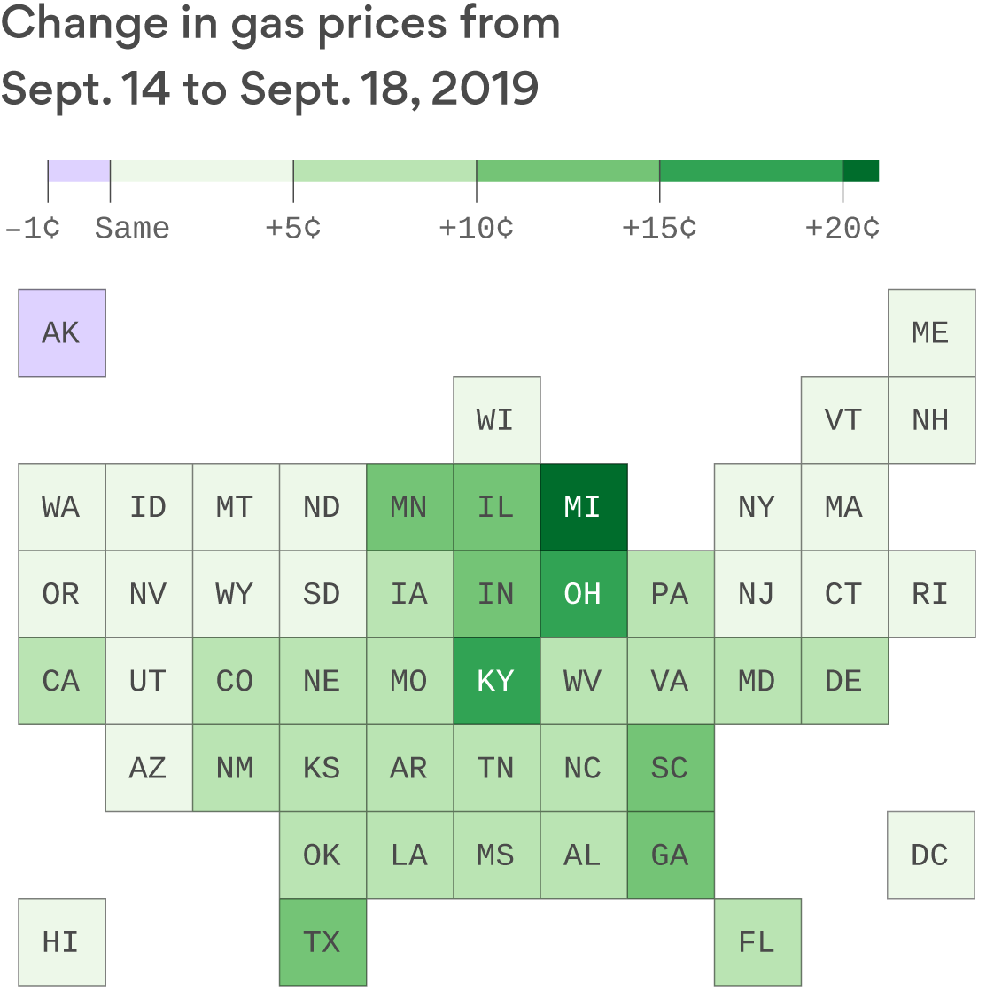Where and by how much gas prices have gone up since Saudi oil attacks