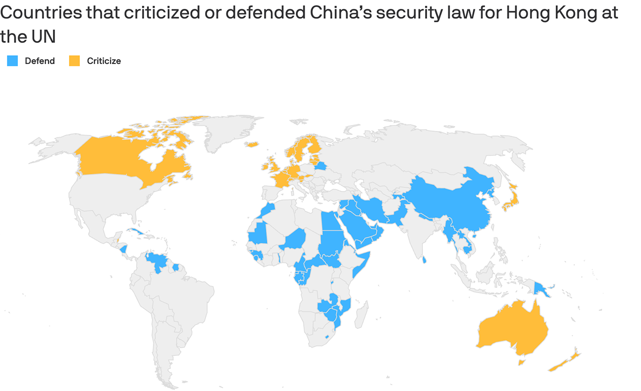 Note: The U.S. has been highly critical of China over the law, but withdrew from the UN Human Rights Council in 2018; Map: Danielle Alberti/Axios